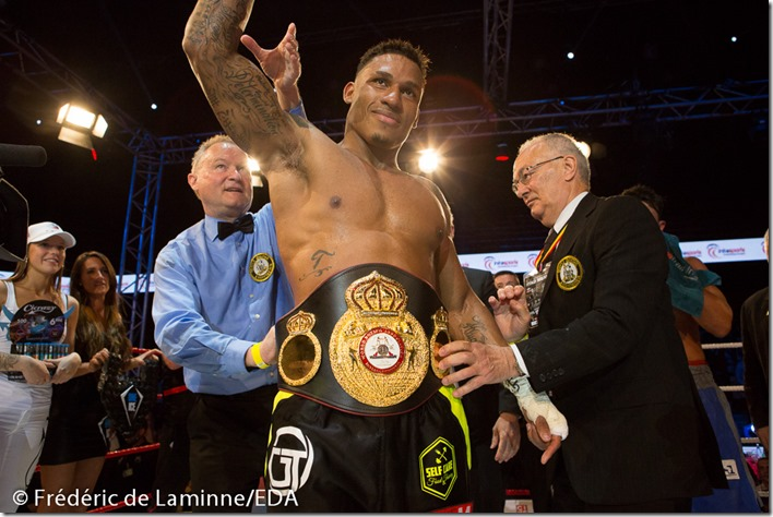 Charleroi, Belgium. 21 May, 2016. Ryad Merhy (Belgium) defeats Williams Ocando (Venezuela) by KO during the fight for the WBA Inter-Continental cruiserweight title in Charleroi, Belgium. © Frédéric de Laminne/Alamy Live News