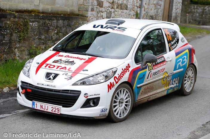S HEEREN / DELAITE (#75) sur Peugeot 207 R3T (RC3 R3T) dans l'ES19 Natoye du Rallye de Wallonie 2016 qui s'est déroulée à Florée (Eglise) le 01/05/2016.