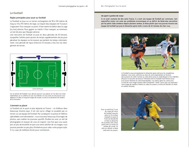 exemple du contenu du livre Photographier tous les sports - guide pratique d'Eric Baledent